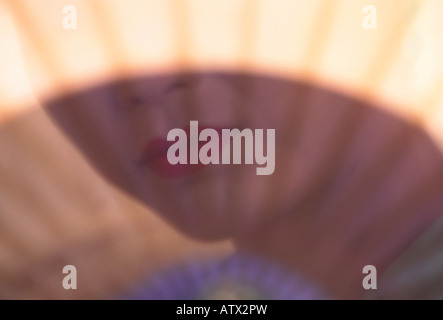 Lower face of an Asian woman in 'Kabuki make up' visible through fan - Stock Image