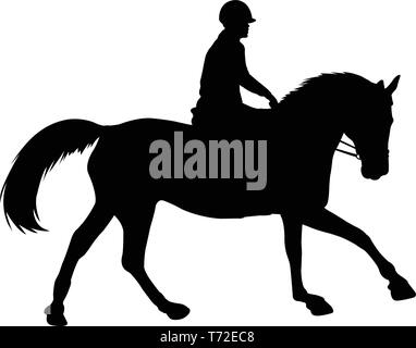 horse riding silhouette - vector - Stock Image