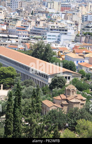 View from the Acropolis (an ancient citadel located on a rocky outcrop) above the city of Athens, GREECE, PETER GRANT - Stock Image