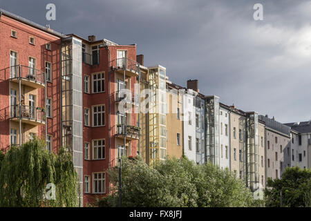 town houses, Clouds, Prenzlauer Berg, Berlin - Stock Image