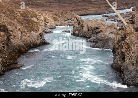 Godafoss Water Falls in Iceland, the water falls from a height of 12 metres over a width of 30 metres - Stock Image
