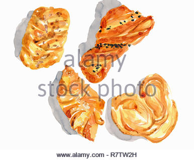 Watercolor painting of different danish pastries - Stock Image