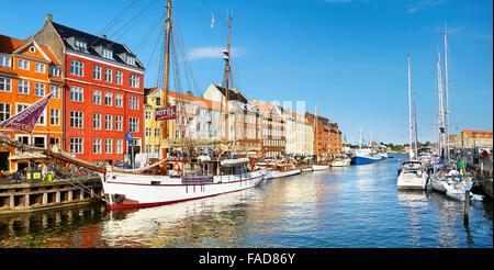 Copenhagen, Denmark - the ship moored in Nyhavn Canal - Stock Image