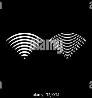 Radio wave Sound signal One dirrection Transmitter icon outline set white color vector illustration flat style simple image - Stock Image