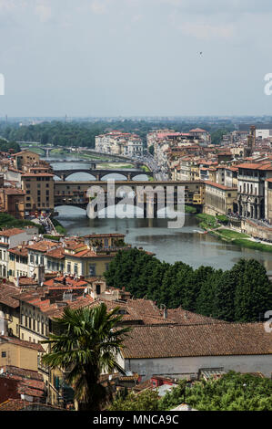 view of florence italy from the southern side of the arno river - Stock Image