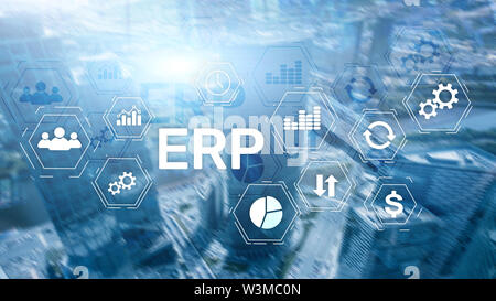 ERP system, Enterprise resource planning on blurred background. Business automation and innovation concept - Stock Image