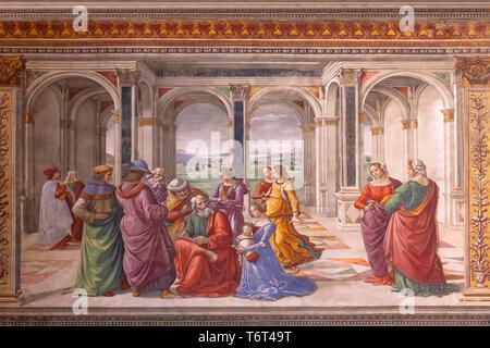 Zechariah Writes John's Name,Domenico Ghirlandaio, 1485-1490, Cappella Tornabuoni, Tornabuoni Chapel, Basilica di Santa Maria Novella, Church of Santa - Stock Image