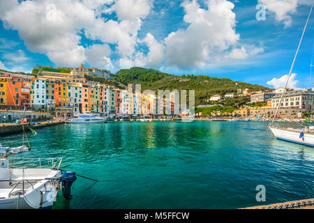 The colorful village of Portovenere on the Italian Riviera on Ligurian coast and part of the Gulf of Poets, Cinque - Stock Image