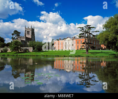 The Old Hall and Church at Staunton Harold Derbyshire England UK - Stock Image