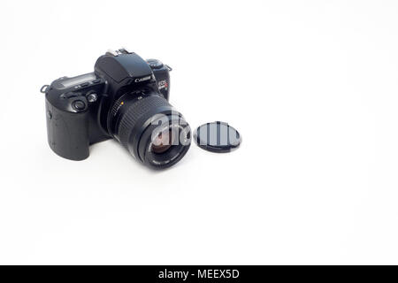 A Canon EOS Rebel X S 35mm SLR film camera with a Canon EF 35-80 Zoom Lens - Stock Image