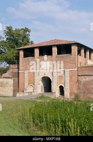 Porta Vittoria (Victory gate) city entrance in Sabbioneta, Lombardy, Italy - Stock Image