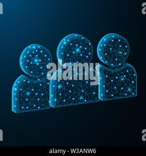 Users symbol low poly design, team polygonal style, vector illustration on dark blue background - Stock Image