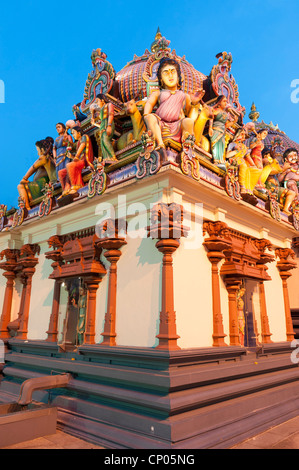 Sri Marimman Temple with highly decorated statues Singapore Malaysia - Stock Image