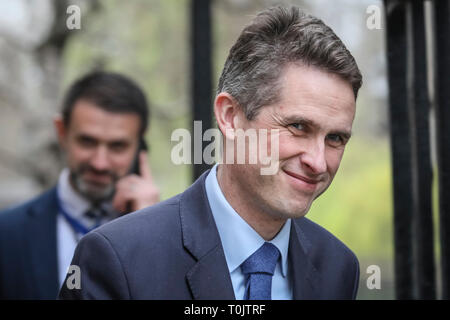 Downing Street, London, UK. 20th Mar, 2019. Gavin Williamson CBE MP. Secretary of State for Defence.Cabinet Ministers enter and leave Downing Street several times during an eventful day in Westminster. Credit: Imageplotter/Alamy Live News - Stock Image