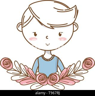 Stylish boy blushing cartoon outfit sweater smiling portrait  floral wreath frame vector illustration graphic design - Stock Image