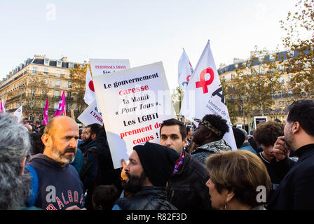 Paris, France. Crowd French LGBT Demonstration against Homophobia, Recent Anti-gay violence, Campaign for Homosexual Equality - Stock Image
