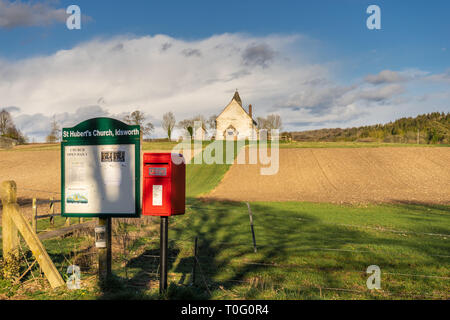 St Huberts Church in Idsworth in the Meon Valley during spring 2019, Hampshire, England, UK - Stock Image