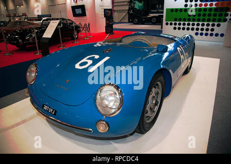 Three-quarters front view of a 1955, Porsche 550, on display at the 2019 London Classic Car Show - Stock Image