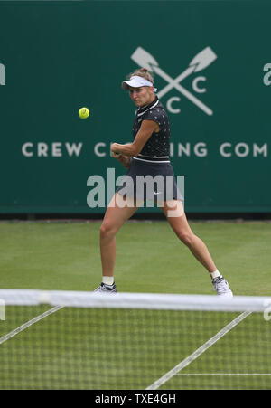 Eastbourne, UK. 24 June 2019 Marketa Vondrousova in action against China's Zheng Saisai on Day three of the Nature Valley International at Devonshire Park. Credit: James Boardman / Alamy Live News - Stock Image