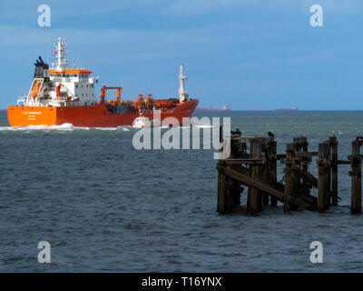 Oil Chemical tanker ELSA ESSBERGER  IMO:9481001, MMSI 255805470 departing from Teesport England UK with a pilot boat alongside - Stock Image