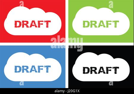 DRAFT text, on cloud bubble sign, in color set. - Stock Image