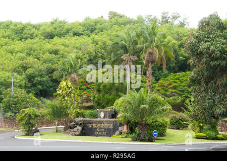 View of the entrance to the Intercontinental Resort in Papeete, Tahiti, French Polynesia. - Stock Image