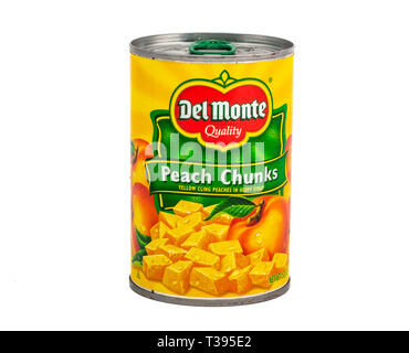 A Can of Del Monte Peach Chunks on White Background - Stock Image