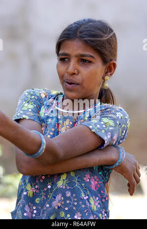 Rabari girl tribal dress contemporay - Stock Image
