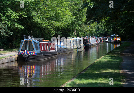 Narrow boats on the Llangollen Canal in North Wales - Stock Image