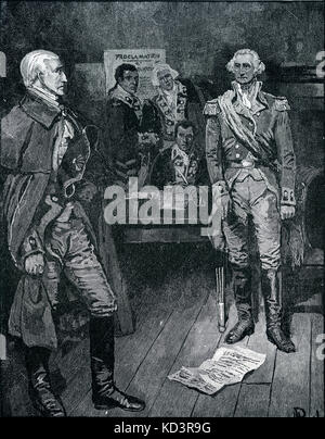 Washington refuses the suggestion of Colonel Nicola that he be made king because of the new Republic's weak - Stock Image
