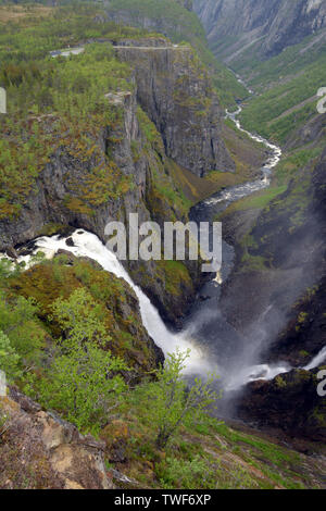voringfossen waterfalls in hardanger eidfjord view from the top a big tourist attraction in norway, eidfjord voringfossen waterfalls or voring falls - Stock Image