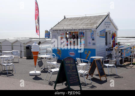 the Old Bathing Station, beachfront cafe in Bexhill-on-sea, East Sussex, United Kingdom - Stock Image