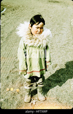 Eskimo child in typical outfit; Point Barrow, Alaska. - Stock Image