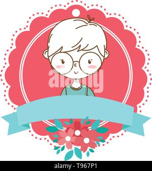 Stylish boy blushing cartoon outfit sweater glasses portrait  floral bloom frame ribbon banner vector illustration graphic design - Stock Image