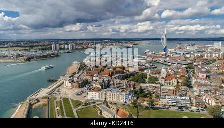 Aerial view of the town and the bay of Portsmouth, Southern England - Stock Image