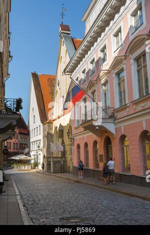 Tallinn street, view of people walking along a colorful street in the Old Town quarter of Tallinn on a summer morning, Estonia. - Stock Image