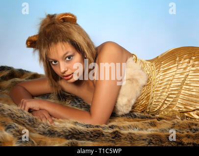Lion or Leo woman, this photo is part of a series of twelve Zodiac signs of astrology - Stock Image
