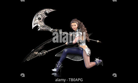 Ancient warrior princess, female fantasy fighter in battle armor wielding medieval scythe blades, isolated on black background, 3D rendering - Stock Image