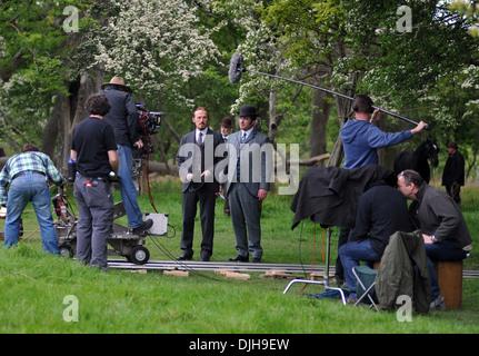 Matthew Macfadyen and Jerome Flynn Celebrities filming scenes  BBC's new drama 'Ripper Street' in Phoenix - Stock Image