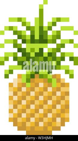 Pineapple Pixel Art 8 Bit Video Game Fruit Icon - Stock Image