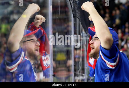 St Petersburg, Russia. 21st Mar, 2019. ST PETERSBURG, RUSSIA - MARCH 21, 2019: HC SKA St Petersburg's supporter cheers in Leg 5 of their 2018/19 KHL Western Conference semi-final playoff tie against HC Lokomotiv Yaroslavl, at the Ledovy Dvorets arena. Alexander Demianchuk/TASS Credit: ITAR-TASS News Agency/Alamy Live News - Stock Image