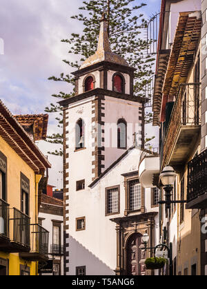 Madeira, Portugal - October 31, 2018: Parish of Sao Pedro in Funchal, the capital of Madeira island, Portugal, as seen from Rua das Pretas. - Stock Image
