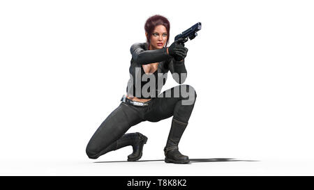 Action girl shooting guns, redhead woman in leather suit with hand weapons crouching on white background, 3D rendering - Stock Image