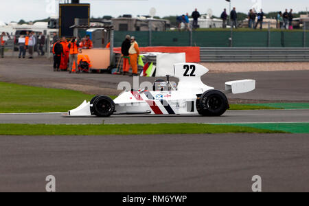 James Hagan driving a 1974, Hesketh 308B, during the FIA Masters Historic Formula One Race at the 2017, Silverstone Classic - Stock Image
