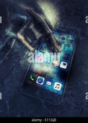 Damaging a mobile phone - Stock Image