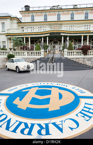 KATOOMBA, Australia - A vintage Jaguar parked outside the Carrington Hotel in Katoomba in the Blue Mountains of - Stock Image