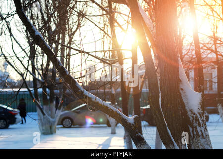 city footpath winter - Stock Image