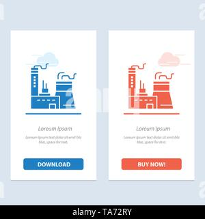 Building, Construction, Factory, Industry  Blue and Red Download and Buy Now web Widget Card Template - Stock Image
