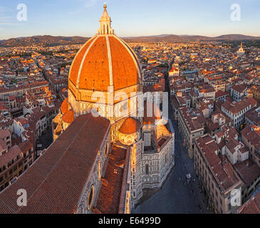 Duomo Santa Maria del Fiore and Skyline Over Florence, Italy - Stock Image