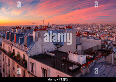Sunrise in Paris, France - Stock Image